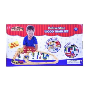Deluxe 50pc. Wood Train Set