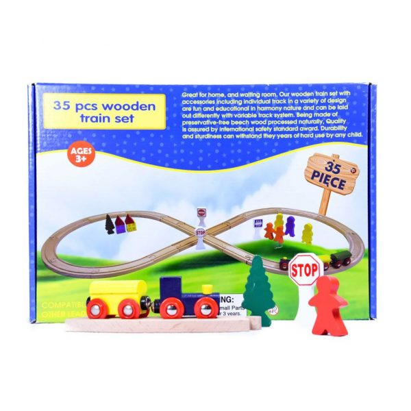 35pc. Wooden Train Set