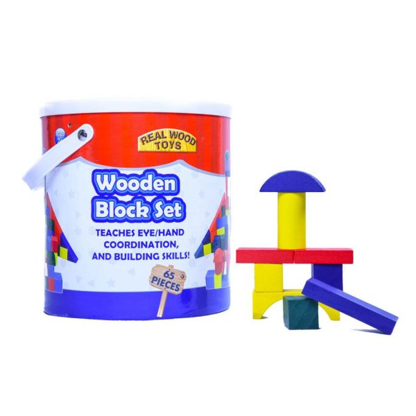 Wooden Block Set - 65pc Bucket by Real Wood Toys