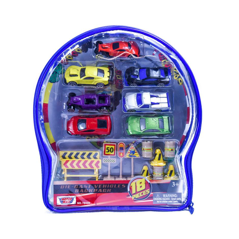 Diecast Car Backpack 18pc.