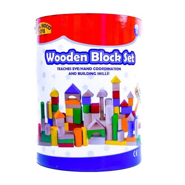 Wooden Block Set Bucket 100pc.
