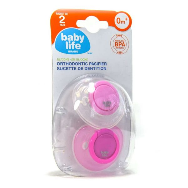 Baby Life Brand Orthodontic Pacifier (2 Pack) Pink