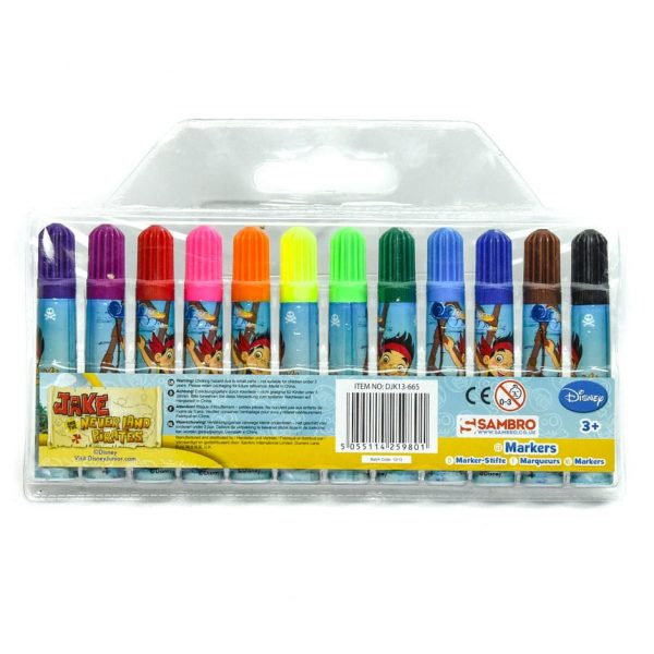Jake and the Neverland Pirates Mini Markers 12 Pack