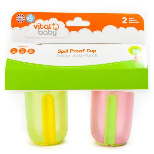 Vital Baby Spill Proof 5 oz Cup (2 Pack) Pink/Green