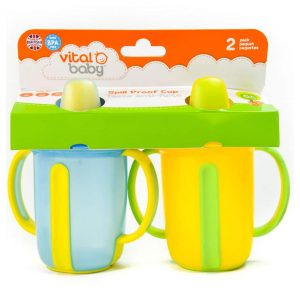 Vital Baby Spill Proof 8 oz Cup with Handles (2 Pack) Blue/Yellow