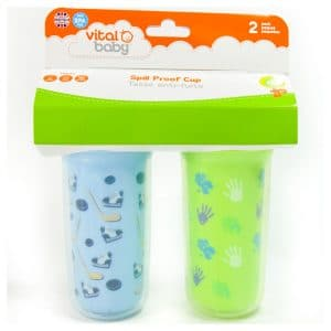 Vital Baby Spill Proof Cup - Insulated with Straw (2 Pack) Blue/Green