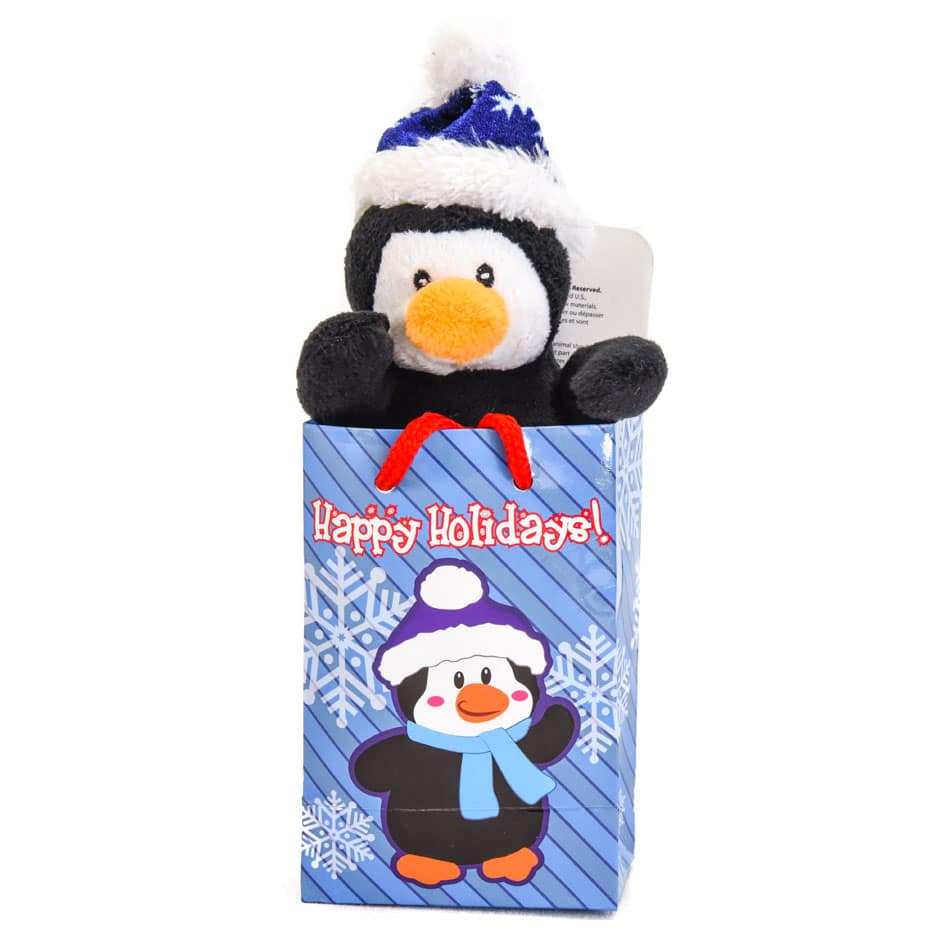Gift Bag Toys : Penguin quot plush in a happy holidays gift bag samko and