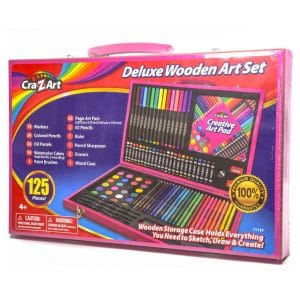 Deluxe Wooden Art Set (125 Piece) Pink Case