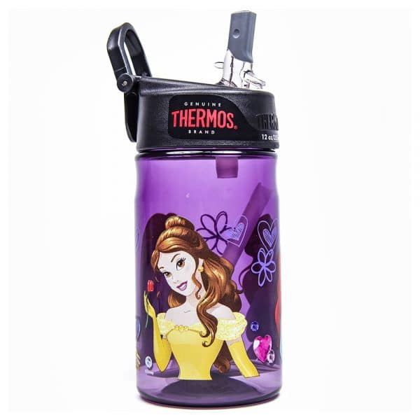 Princess 12oz Plastic Bottle with Straw Purple