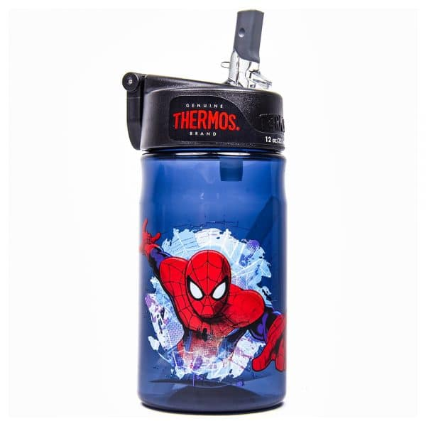 Spiderman Thermos 12oz. Plastic w/ Straw