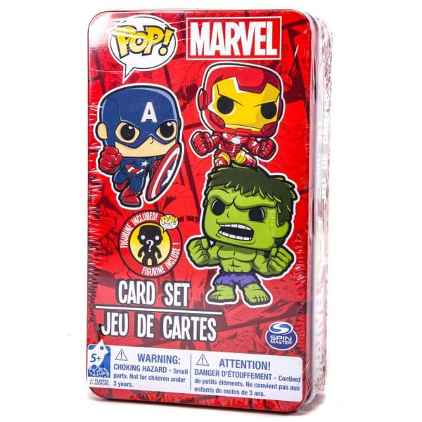 Marvel Playing Cards With Mystery Figure In Tin Red