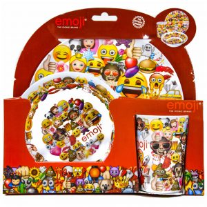 Emoji Dinnerware Set with 3 pcs Plate, Bowl and Mug
