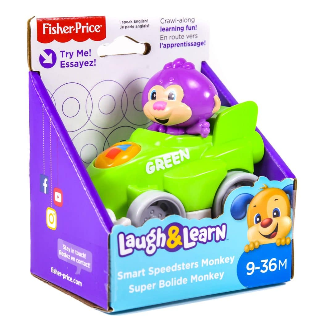 Fisher Price Laugh & Learn Smart Speedsters Monkey In Green Race Car