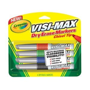 Crayola Dry Erase Chisel Tip Markers 4 Pack
