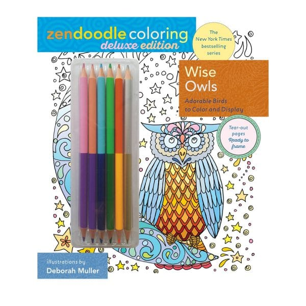 Wise Owls Zendoodle Coloring Deluxe with Pencils