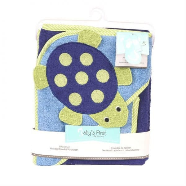 Babys First Hooded Towel and Washcloth 2 Piece Set