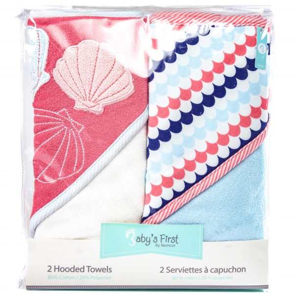 Babys First Hooded Towels 2 Pack Pink
