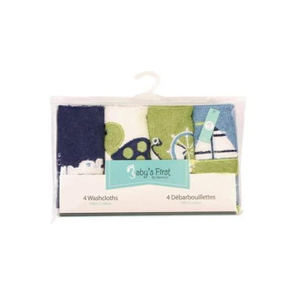 Babys First Washcloths 4 Pack Blue