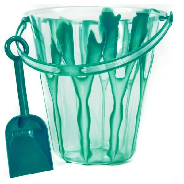 9 Inch Marble Design Pail and Shovel Green