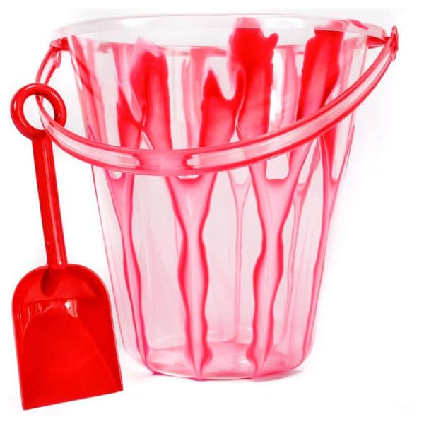 9 Inch Marble Design Pail and Shovel Red