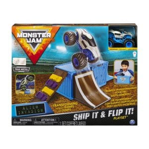 Monster Jam Ship It & Flip It Alien Invasion Transforming Playset with Exclusive 1: 64 Scale Die-Cast Truck