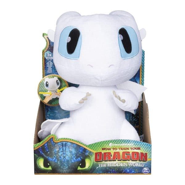 How to Train Your Dragon, Squeeze & Growl Lightfury, 10-inch Plush Dragon with Sounds