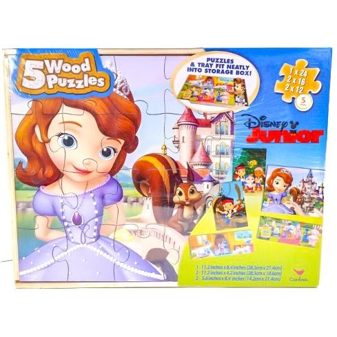 Disney Junior 5 Wooden Puzzles Sophia Jake Lambie Doc Mcstuffinis