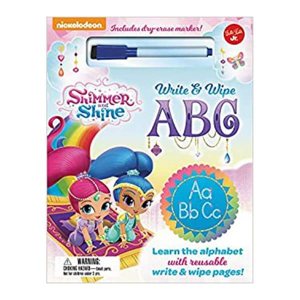 Nickelodeon's Shimmer and Shine Write & Wipe ABC: Learn the alphabet with reusable write & wipe pages! Board book
