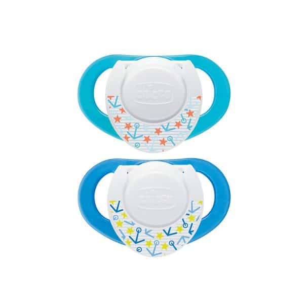 Chicco NaturalFit 2-Pack Deco Orthodontic Pacifier (4M+) BLUE