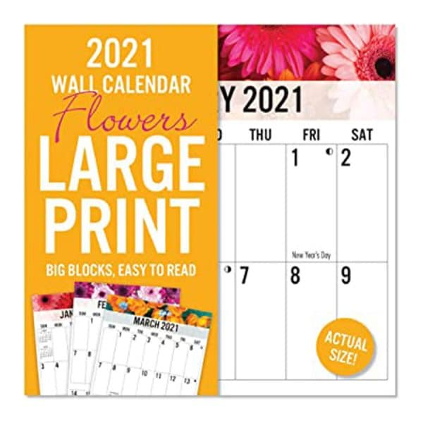 2021 Flowers Large Print Wall Calendar