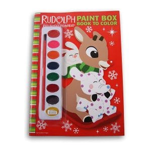Rudolph the Red-Nosed Reindeer Paint Box Book to Color