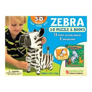 Zebra 3D Puzzle & 2 Book Set