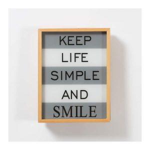 """Keep Life Simple and Smile"" LED Light Box"
