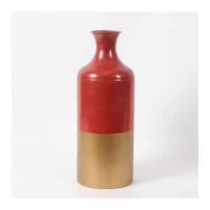 Orange/Gold 2 Tone Color Metal Vase