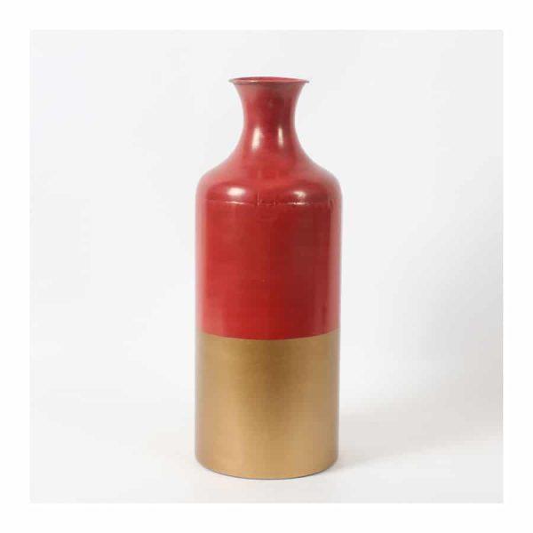 Orange/Gold 2 Tone Color Metal Vase