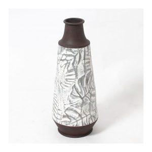 White Wash Leaves Metal Vase - S