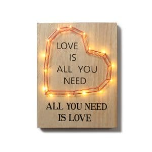 """Love is All You …"" Heart LED w/ Décor"