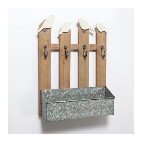 Birds & Fence Wall Basket w/Hooks