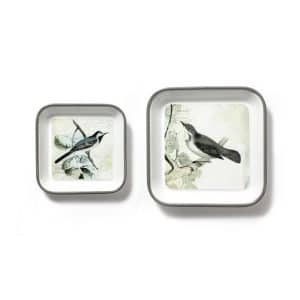 Bird Metal Tray Wall Décor S/2