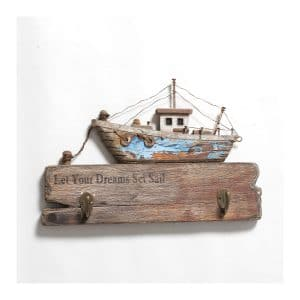 "Boat ""Let Your Dreams…"" W/ 2 Hooks"