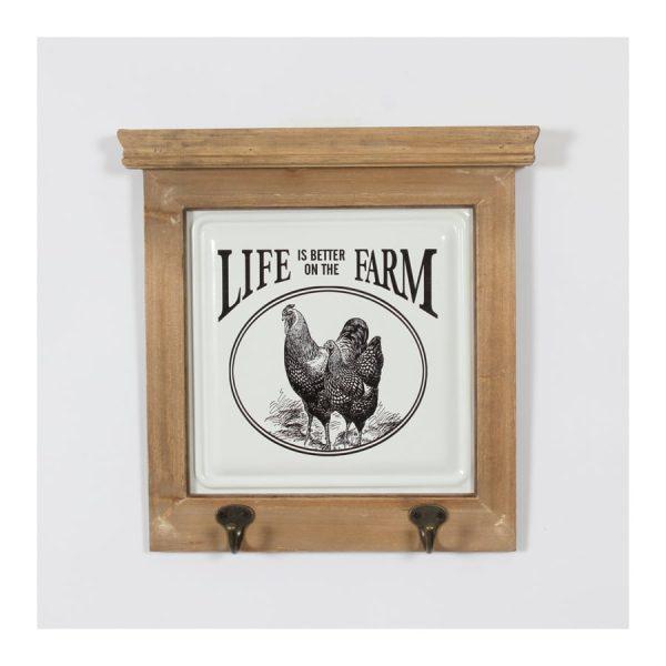 """Hen """"Life is …Farm"""" Wall Décor w/ 2 Hooks"""
