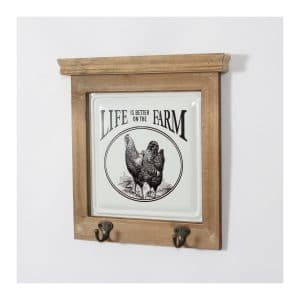 "Hen ""Life is …Farm"" Wall Décor w/ 2 Hooks"