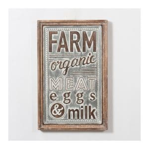 """Farm Organic…"" Metal Plaque w/Wood Frame"