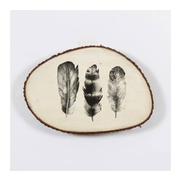 Tree Trunk Wall Décor - 3 Feathers