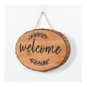"""Welcome"" Tree Trunk Oval Hanging Plaque"