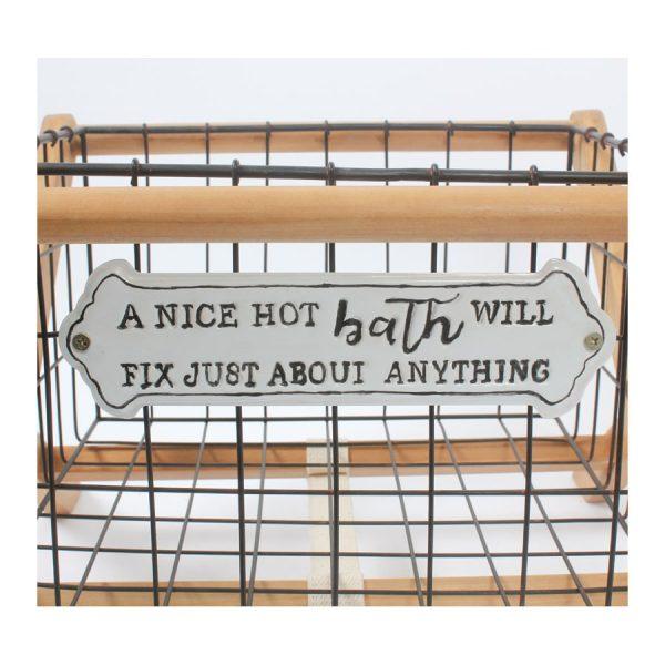 """A Nice Hot Bath …."" Iron Basket W/Wood Rack"