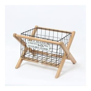 """A Nice Hot Bath …."" Iron Basket W/Wood Rack"