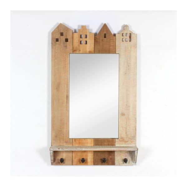 Building Wall Mirror W/ 4 Hooks