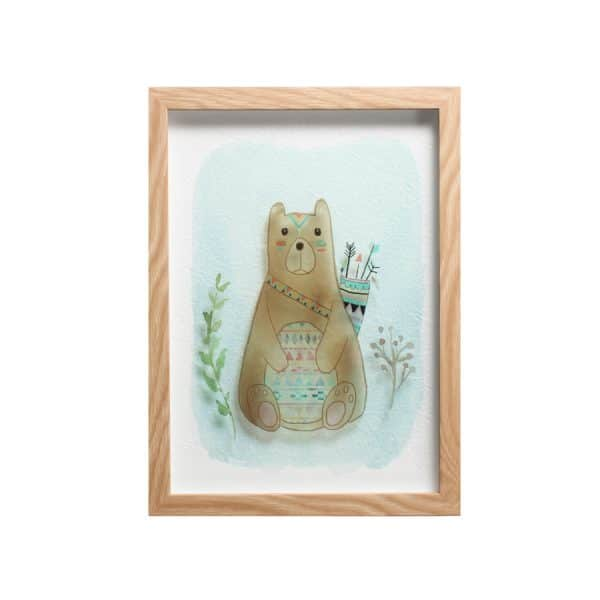 """Bear with Arrow Framed Art 10""""L x 14""""H"""