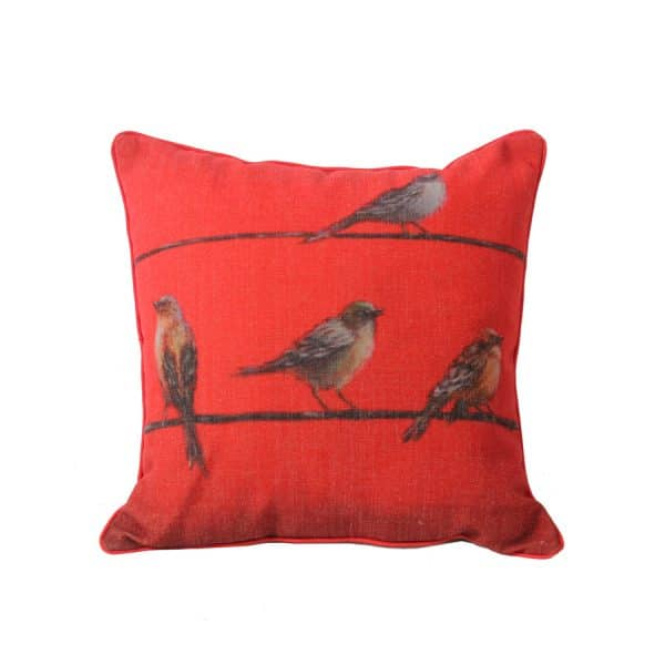 Design Throw Pillow - Birds In Red Wall S/2 Each45 X45 Cm